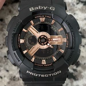 NWT Casio Baby G BA11-ORG1A rose gold/black watch